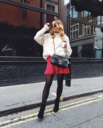 sweater white sweater black bag boots sunglasses skirt bag tights ankle boots mini skirt