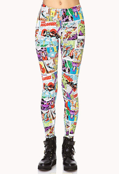 leggings comics bande dessin? heroes captain america spiderman