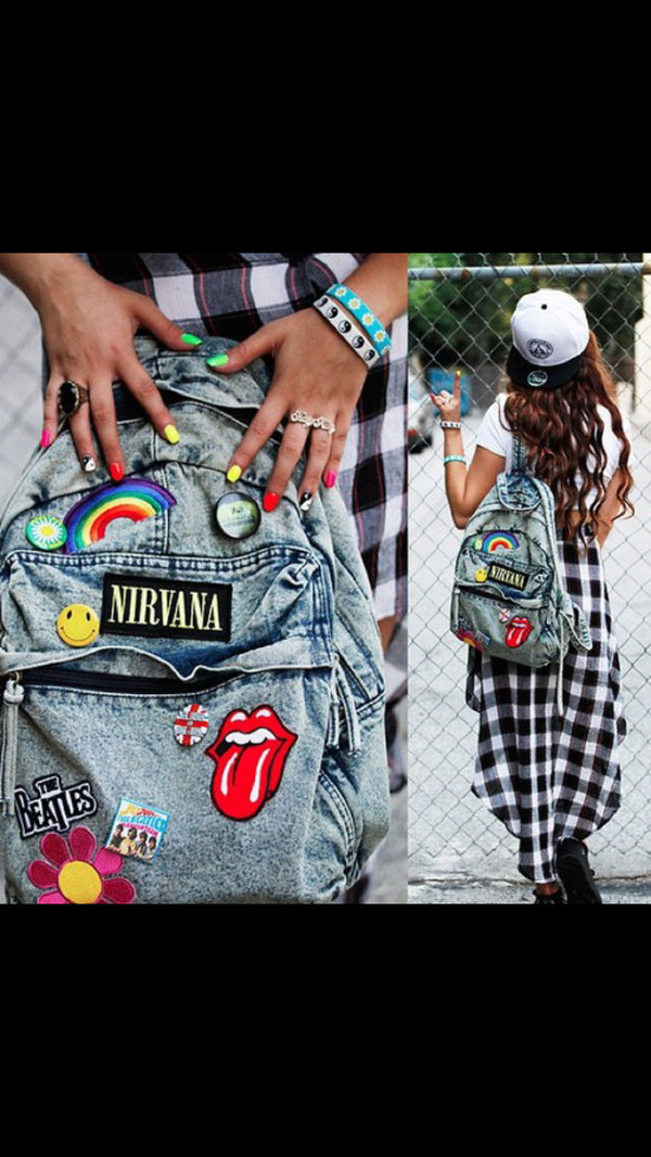 bag backpack purse nirvana the rolling stones the beatles vintage grunge tumblr outfit smiley rainbow hippie boho scene indie