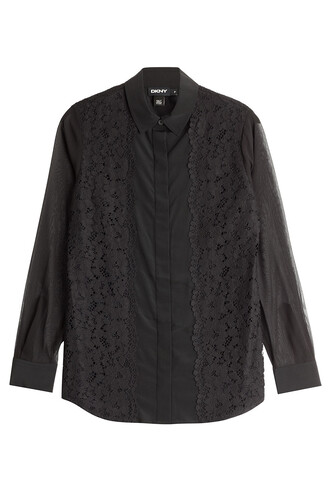 blouse lace silk black top