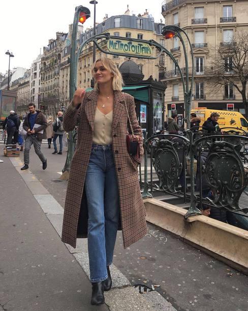 sweater cardigan jeans plaid coat black boots marc jacobs bag