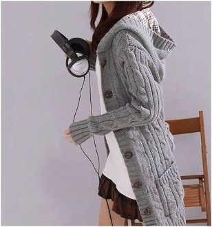 Women's Gray Cable Knit Hooded Cardigan | Keep.com