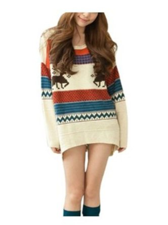 Amazon.com: Huafeng Fawn Colored Stripe Loose Xmas Sweaters Womens: Clothing