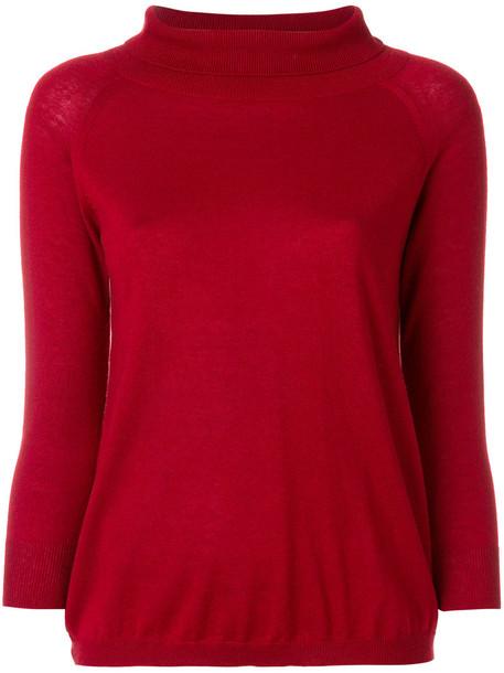 Max Mara jumper cropped women silk red sweater
