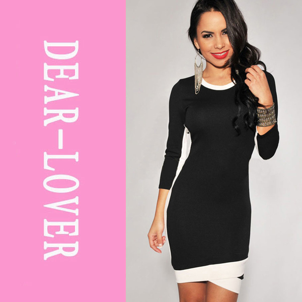 White Trim Bodycon Midi Dress in Black    LC2951  dress european style long sleeve color block-in Dresses from Apparel & Accessories on Aliexpress.com