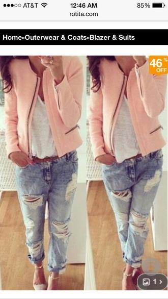 jacket coral pink zip up blazer