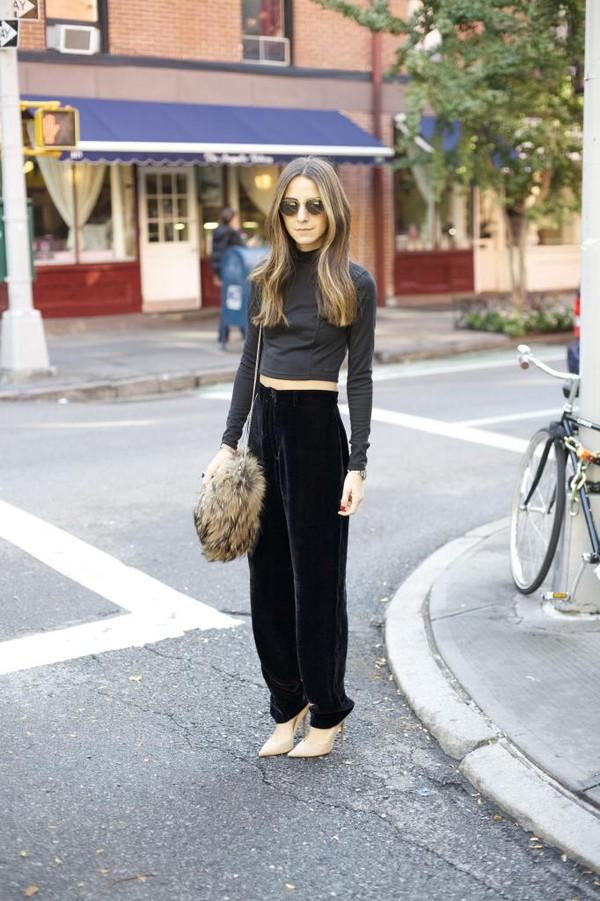 something navy pants t-shirt shoes bag sunglasses