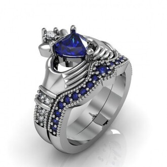 jewels claddagh rings blue heart sapphire claddagh ring / engagement ring set - 18k platinum plated sterling silver ring set for claddagh silver claddagh ring set blue sapphire claddagh ring set evolees.com