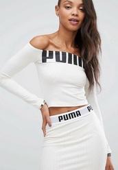 skirt,puma,2 piece skirt set,white off-shoulder