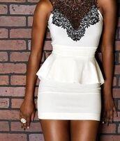 dress,white dress,lace,mini dress,clothes,prom dress,black and white,peplum,white,black,white and black peplum dress,white and black lace peplum dress