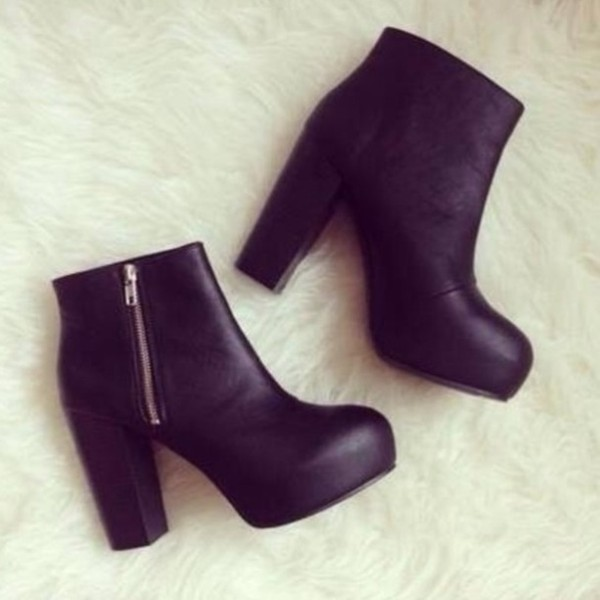 shoes boots black high heels leather shoes