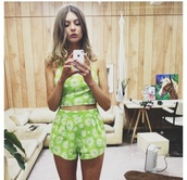 dress,crop tops,daisy,high waisted,summer,vintage,matching set,crop,hot pants,festival,beach,model,herpony,her pony,cute,cute outfits,matching skirt and top