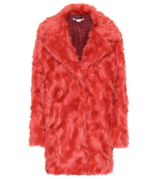 Stella McCartney Faux fur coat in red