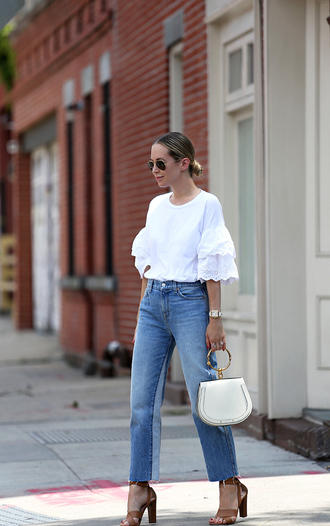 top bell sleeves tumblr white top eyelet top denim jeans blue jeans bag white bag sandal heels sandals shoes