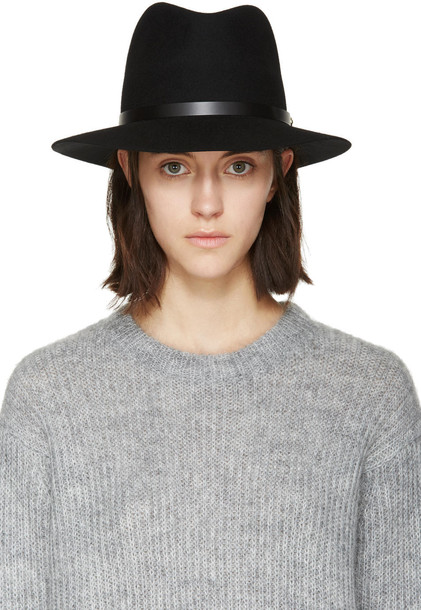fedora black wool hat