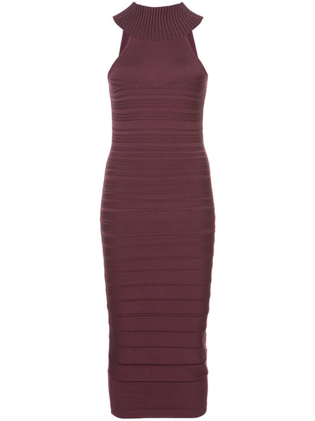 Cushnie Et Ochs - fitted midi dress - women - Polyester/Rayon - XS, Pink/Purple, Polyester/Rayon