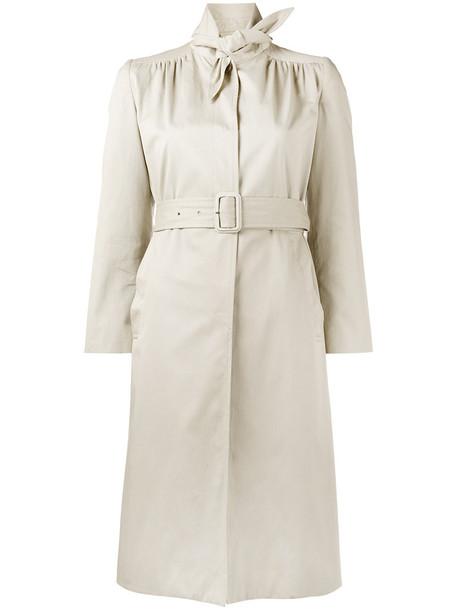 Balenciaga women leather nude cotton coat