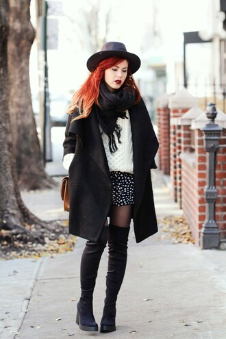 le happy blogger hat mini skirt cable knit winter outfits thigh high boots