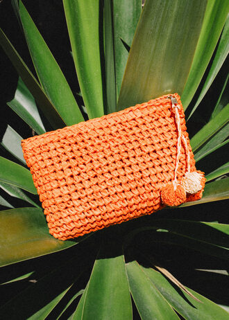 bag clutch raffia orange