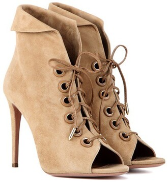 boots ankle boots lace beige shoes