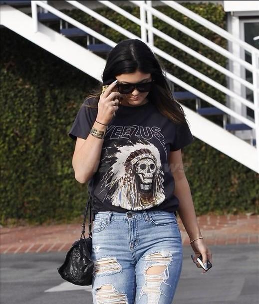 t-shirt kylie jenner yeezus grunge jeans