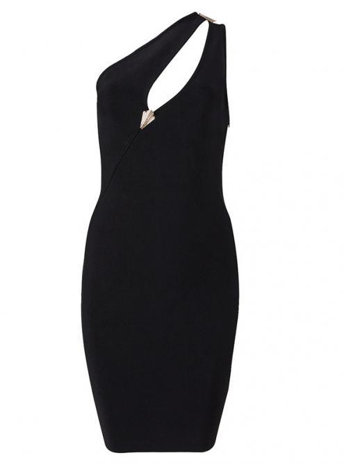 Black One Shoulder Cut Out Metal Decoration Bandage Dress H917$109
