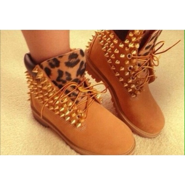 shoes leopard timberlands spiked shoes wheat