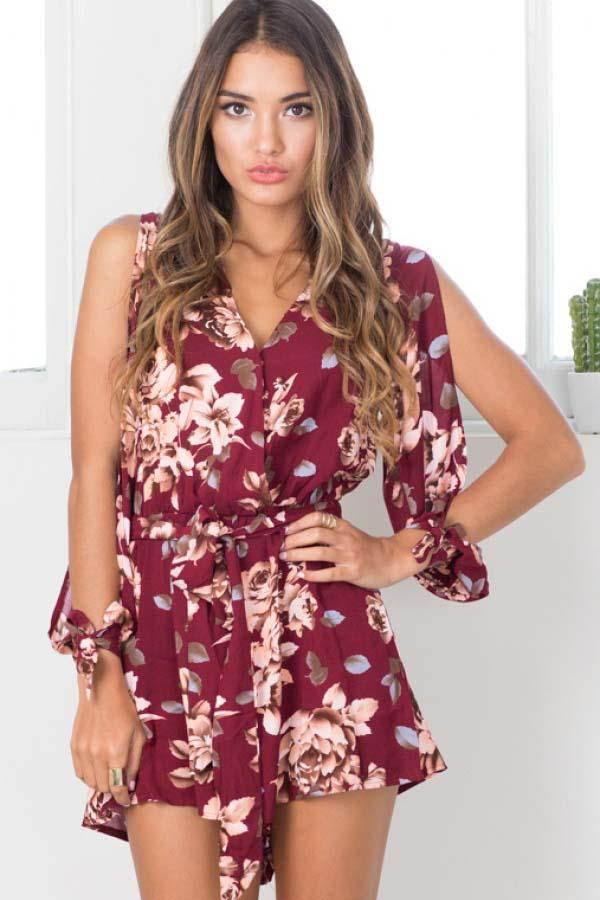 Dark Red Floral Print Slit Sleeve Chic Romper