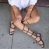 shoes,knee high gladiator sandals,black sandals