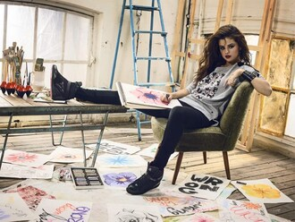 shirt grey sweater selena gomez shoes black leather shoes adidas shoes