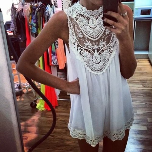 dress crochet white crochet white dress Pariscoming white short sleeveless lace dress blouse lace summer white lace romper flowy summer dress floral dress vintage