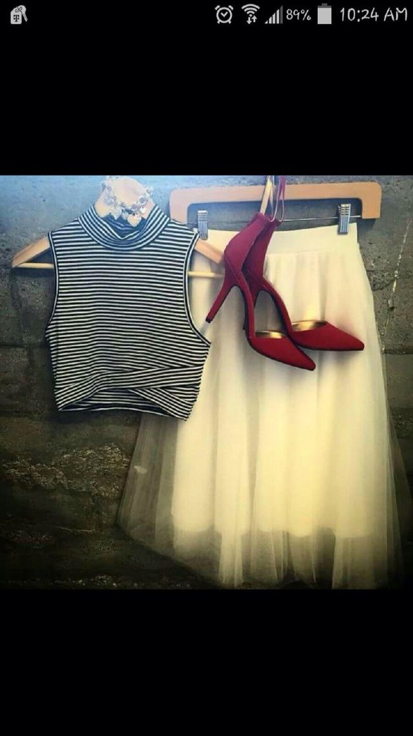blouse skirt heels crop tops shoes