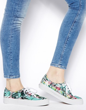 Vans | Vans Authentic Floral Plaid Sneakers at ASOS
