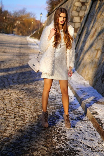 only my fashion style blogger shift dress fuzzy coat fluffy white coat platform lace up boots white fluffy coat mini dress silver dress bag chain bag white bag boots lace up boots white winter outfit