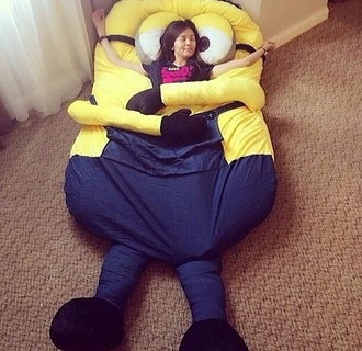 bag bedding bedroom minions scarf yellow underwear comfy chill out jacket pajamas pillow bean bag sleeping bag funny sleep rug blanket bedtime home accessory bed minion