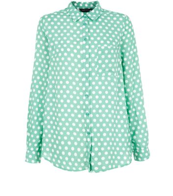 Mint Green Polka Dot Long Sleeve Shirt