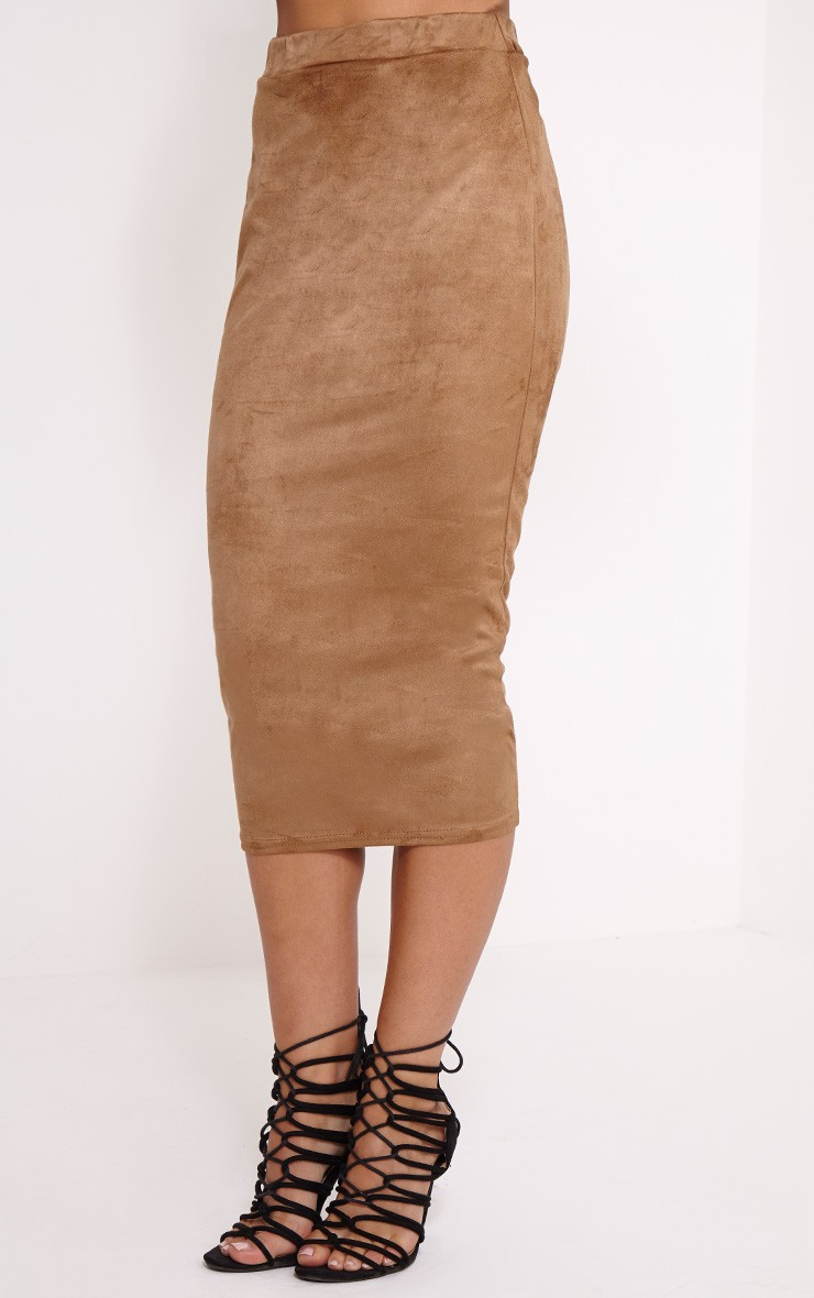 Camel Suede Midi Skirt - Skirts - PrettyLittleThing ...