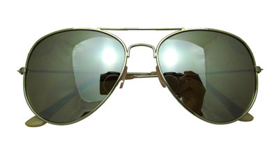Medium mirrored aviator sunglasses in pearlescent