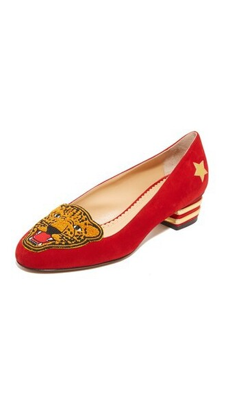 flats gold red shoes