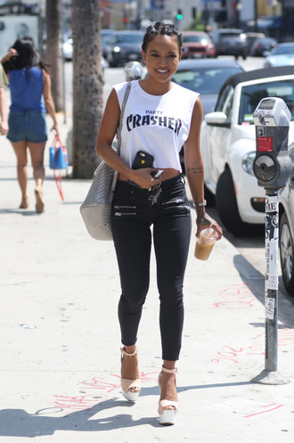 top crop tops pants sandals karrueche muscle tee