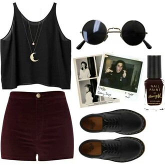 shorts burgundy velvet blouse shirt jewels sunglasses shoes jewelry necklace moon moon necklace boho boho chic bohemian festival music festival coachella