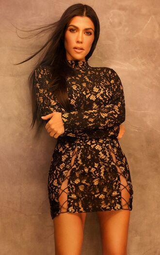 jacket lace dress lace kourtney kardashian mini dress kardashians black dress dress bodycon dress turtleneck turtleneck dress