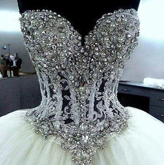 dress wedding dress diamonds fashion elegant cinderella courset silver