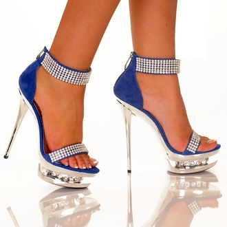shoes blue diamonds strappy heels open toes high heels heels blue high heels blue heels