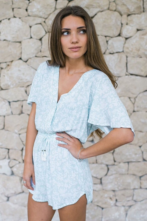 romper blue summer cute fashion style trendy boho spring free vibrationz
