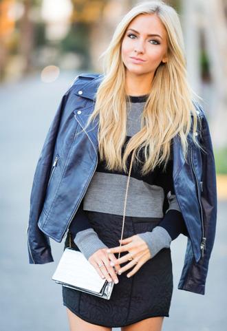 angel food blogger jacket bag stripes leather jacket black skirt