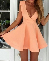 dress,cute dress,summer dress,clothes,salmon dress,cool,beautiful,pink dress,peach,skater dress,v neck dress,plunge v neck,peach dress,sleeveless dress,necklace,halter neck dress,orange,orange dress,corail
