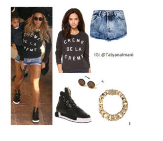 sweater jewels shirt blue ivy cute shorts beyoncé top live life sexy queen shoes great role model angel famous beyoncé queen bey sunglasses stylish stylish sunglasses tatyanaimani tatyana roll-up soft grunge los angeles celebrity style celebrities beyoncé shorts hat shoes sunglasses earrings