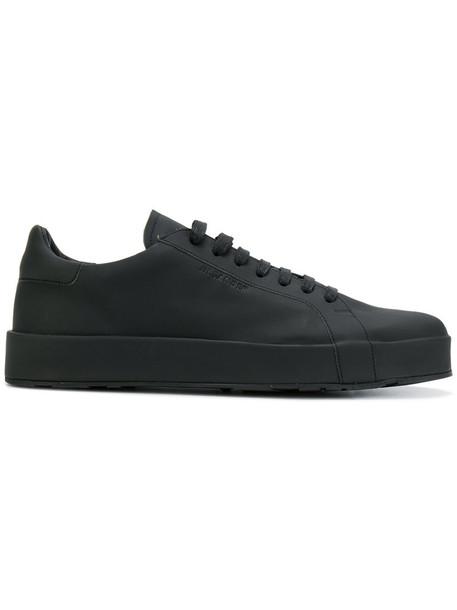 Jil Sander women sneakers lace leather black shoes