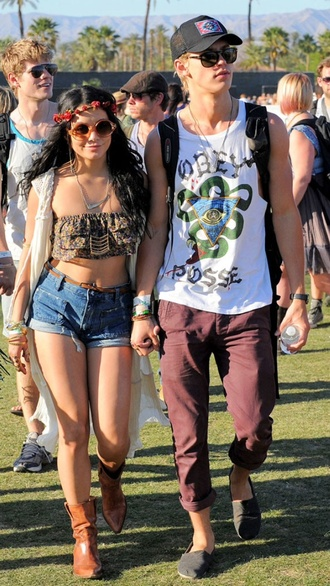 vanessa hudgens coachella high waisted shorts crop tops flower crown round sunglasses